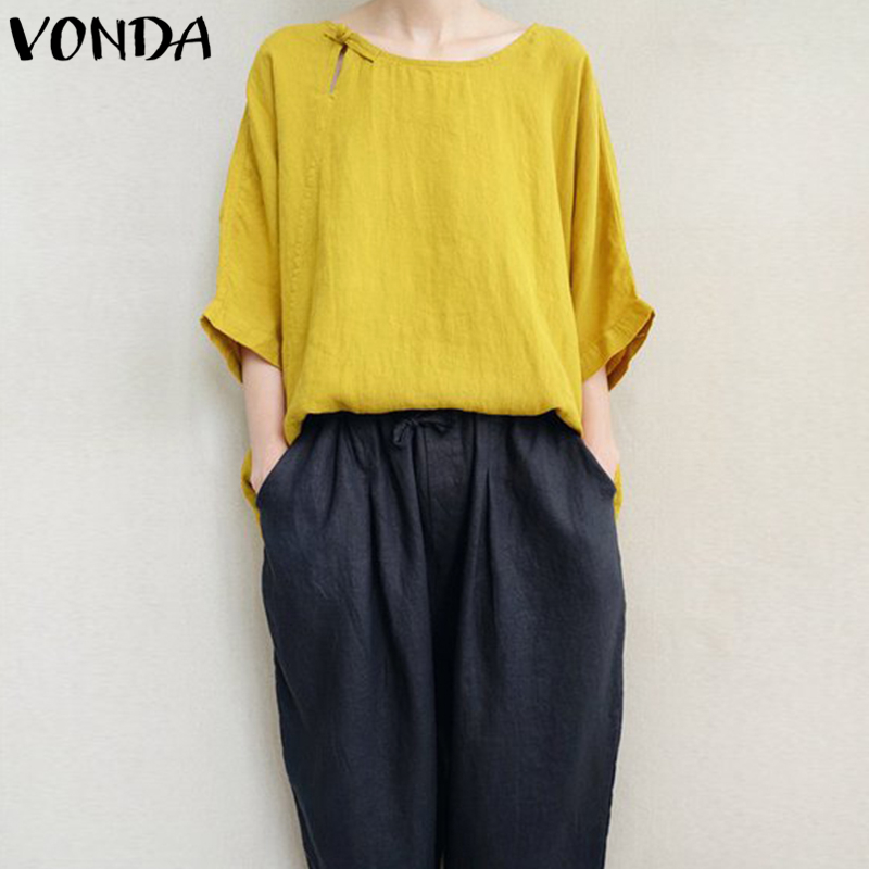 VONDA Women Cotton   Blouses     Shirts   2019 Autumn Casual Loose O Neck Batwing 3/4 Sleeve Asymmetric Solid Blusas Plus Size Tops 5XL