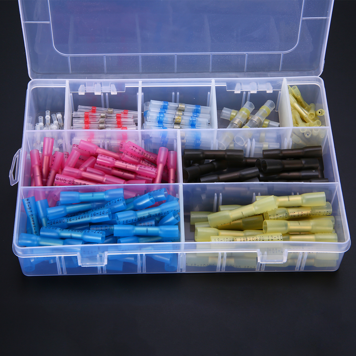 200pcs Assorted Insulated Heat Shrink Terminals kit Waterproof Heat Shrink Wire Butt Connectors Soldering Connectors with Box цены онлайн