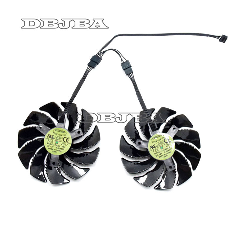 88mm T129215SU Graphics Card Cooling Fan For <font><b>Gigabyte</b></font> GeForce <font><b>GTX</b></font> <font><b>1050</b></font> <font><b>Ti</b></font> RX 480 470 570 580 <font><b>GTX</b></font> 1060 G1 Gaming Cooler 1 pair image