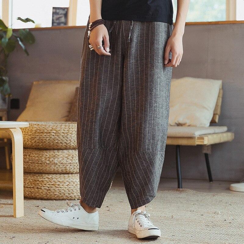 #4556 Sommer Vintage Kimono Hosen Männer Japanischen Streetwear Plus Größe 5xl Lose Baumwolle Leinen Harem Hosen Herren Elastische Taille Keine Kostenlosen Kosten Zu Irgendeinem Preis