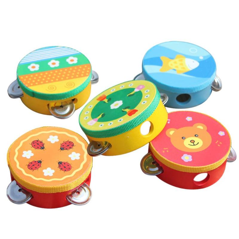 Wooden Baby Handbells Drum Toy Kids Music Sound Hand Bells Cartoon Primt Children Musical Instrument  Educational Toys Baby Bell