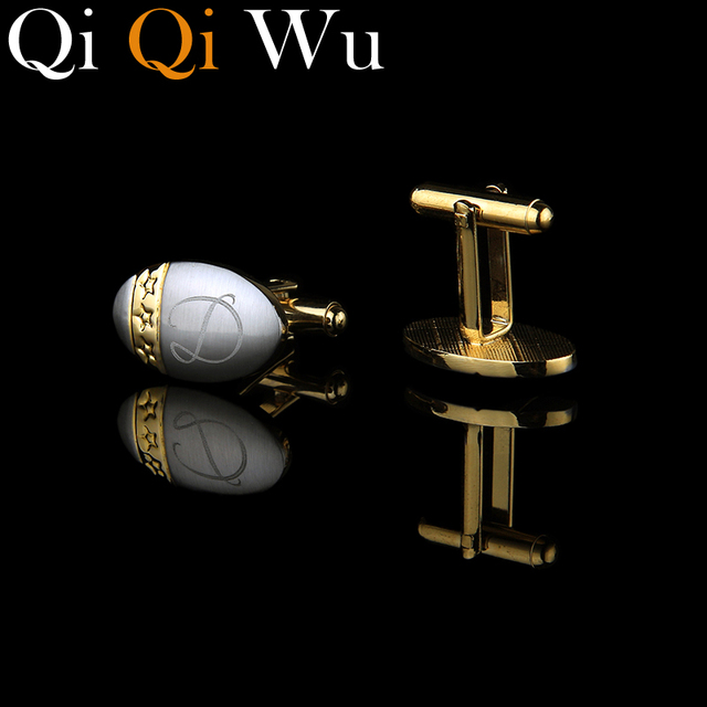 Qi Qi Wu Gold Custom Cufflinks Initials Personalized French Cuff