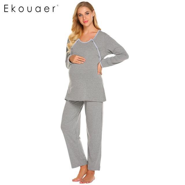 b2d2d5af3 Ekouaer Autumn Pajama Set Nightwear Women Solid Long Sleeve Tops And Long  Pants Maternity Breastfeeding Sleepwear Pajamas Sets