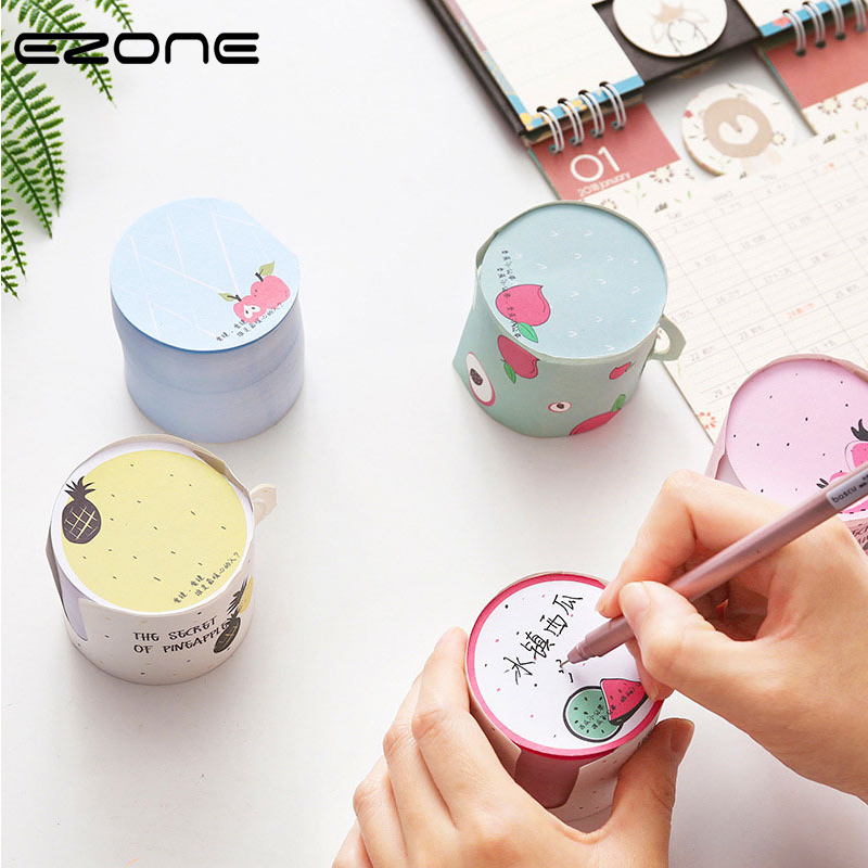 EZONE Cute Sticky Notes Kawaii Cup Shape Creative Fruit Memo Pad Adhesive Sticky Notes 400Sheet Korean Student Stationery Supply