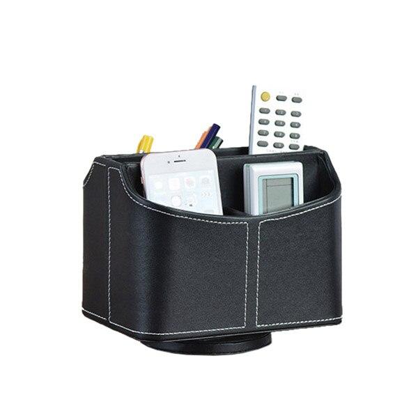 PPYY NEW -1 Pcs 360 Rotating PU Leather Storage Box Remote Control Finishing Box Jewelry Box Black