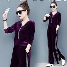 Purple fleece suit new female early spring two-piece dress tassel v-neck pleuche wide-legged pants