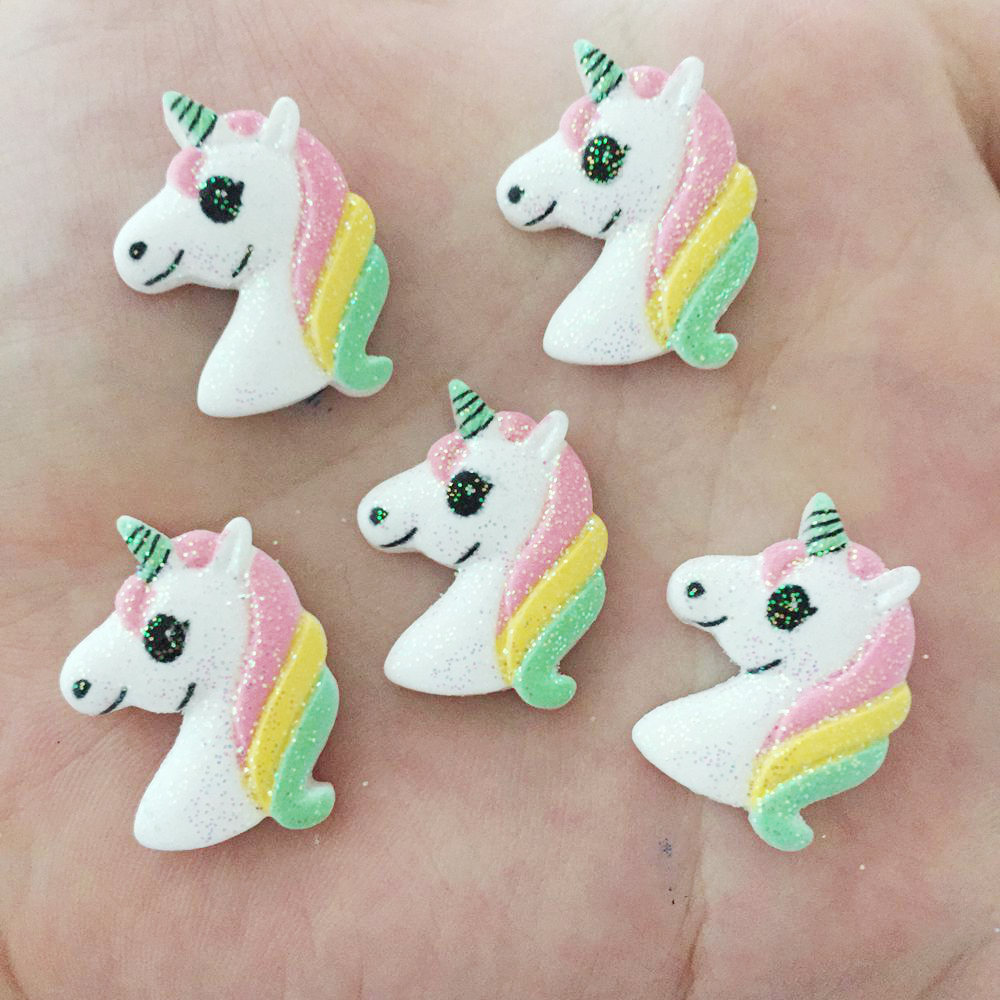 10pcs 22mm Resin Hand-painted Flicker Unicorn Flatback Stone Child Scrapbooks Wedding F348