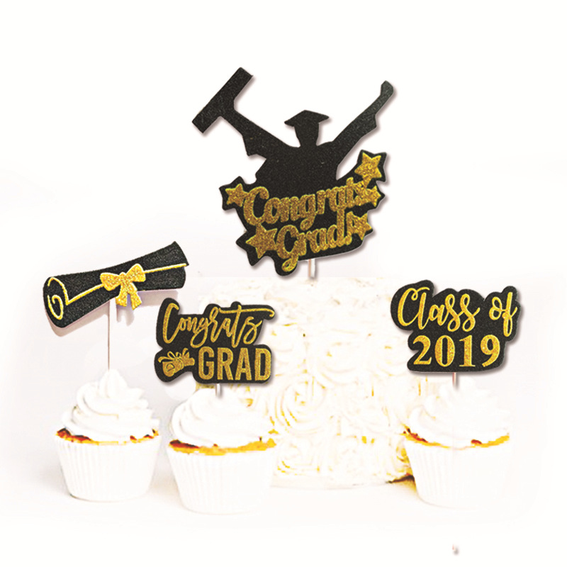 5PC Graduation Season Cake Insert Card 2019 Graduation Cake Decoration Insert Piece Graduation Party Decoration Cake Toper table