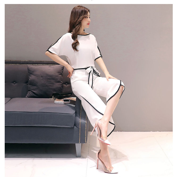 Fashion Women Lace Up Short Slit Sleeve Shirts Wide Leg Pant Casual Two Piece Sets Sashes Summer Woman Tops Sexy Suits