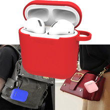 Silicone Skin Case for Earphone with Hanging Buckle for Airpods Wireless Bluetooth Headphone Earphone Protective Cover 80%(China)