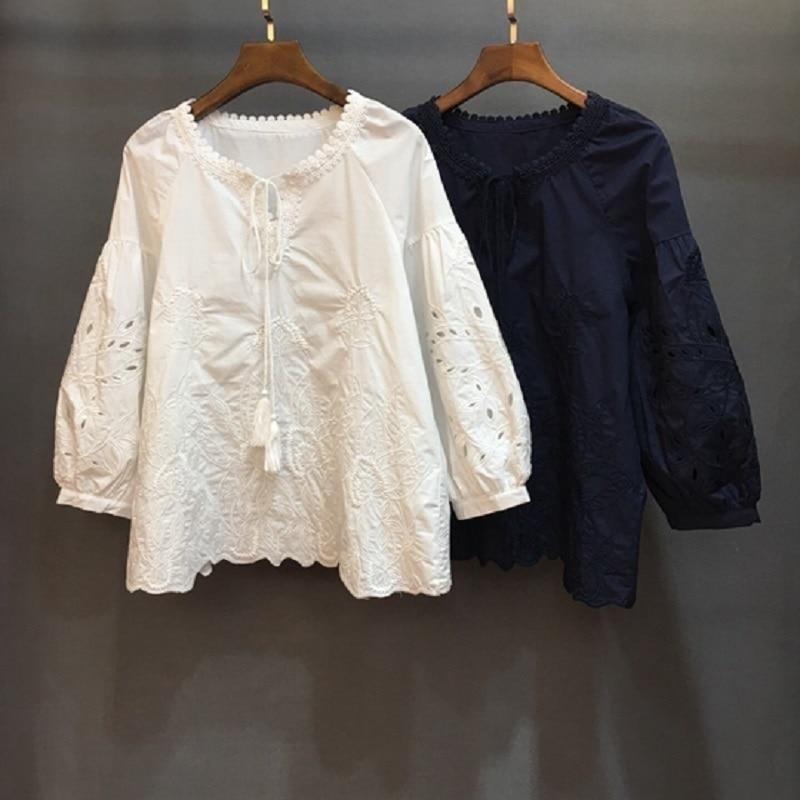 Qualité Blanc Broderie white Vintage Hauts Chemise 2019 Blue Printemps Été Femmes Chemisier Bleu En Évider Supérieure Coton Femelle Décontracté 4qPw7f4r