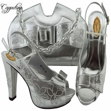 Capputine Newest Fashion Decorated With Rhinestone Shoes And Bag Set Italian Summer High Heels Shoes And Bag Set For Dress