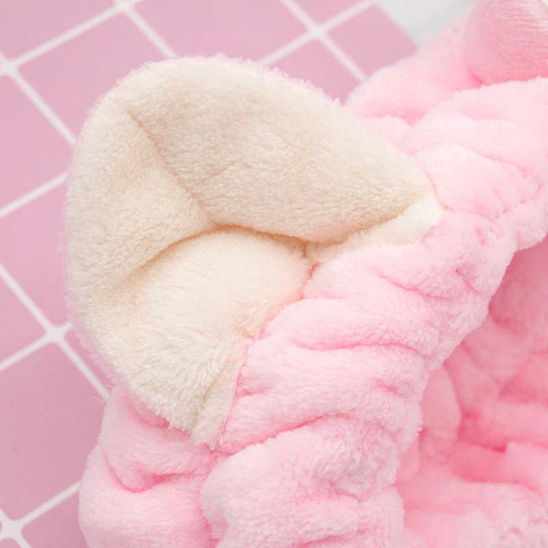 Флисовая спа женская накидка для макияжа, мягкая маска для мытья лица, повязка на голову с милыми пандой, ушками для душа, повязка на голову для волос
