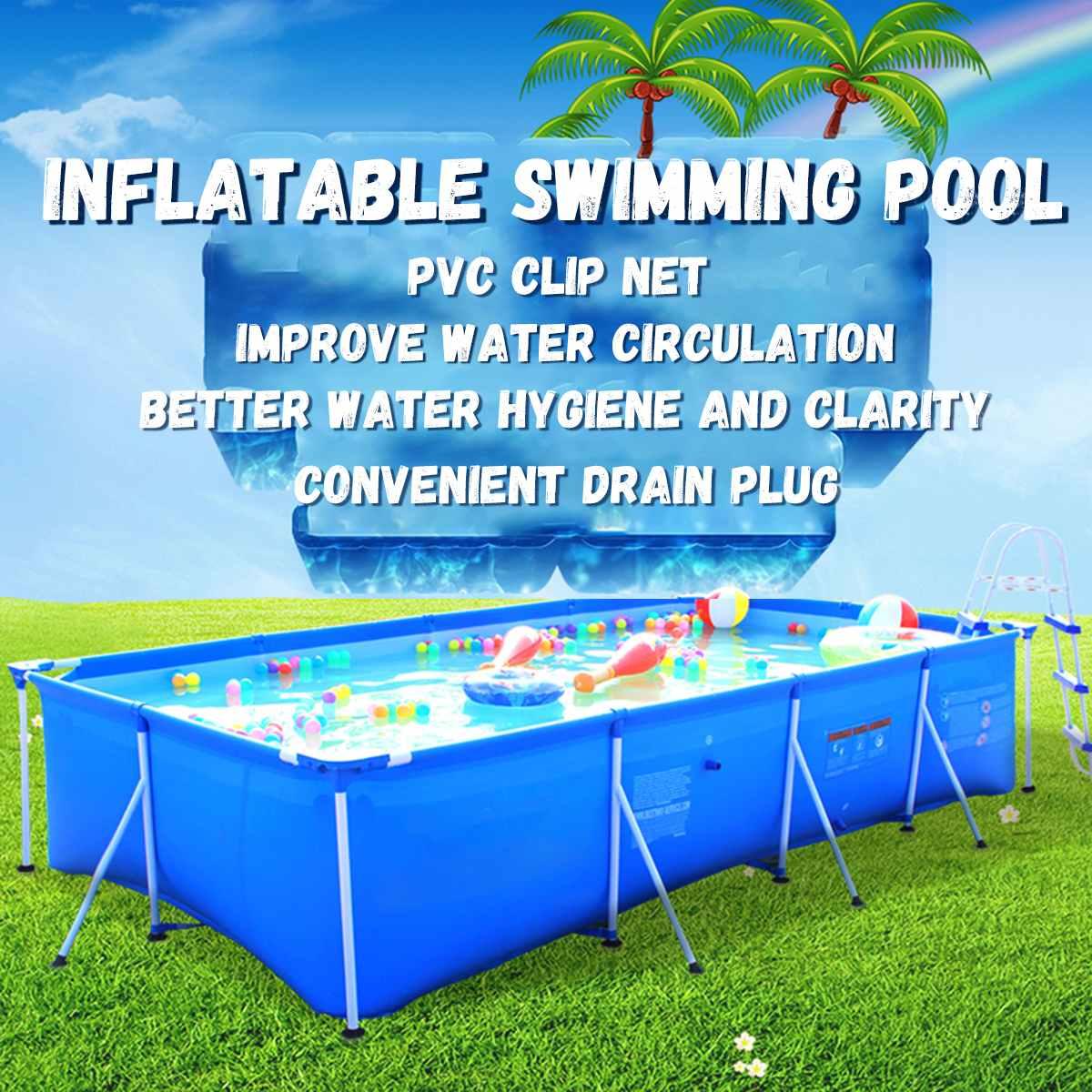 2*4 M piscine extérieure gonflable pataugeoire famille carré jardin enfants piscines antidérapantes piscine & plongée & accessoires