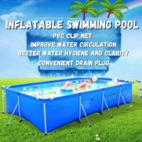 2*4M Outdoor Inflatable Swimming Paddling Pool Family Square Garden Kids Non slip Pools Swimming & Diving Pool & Accessories