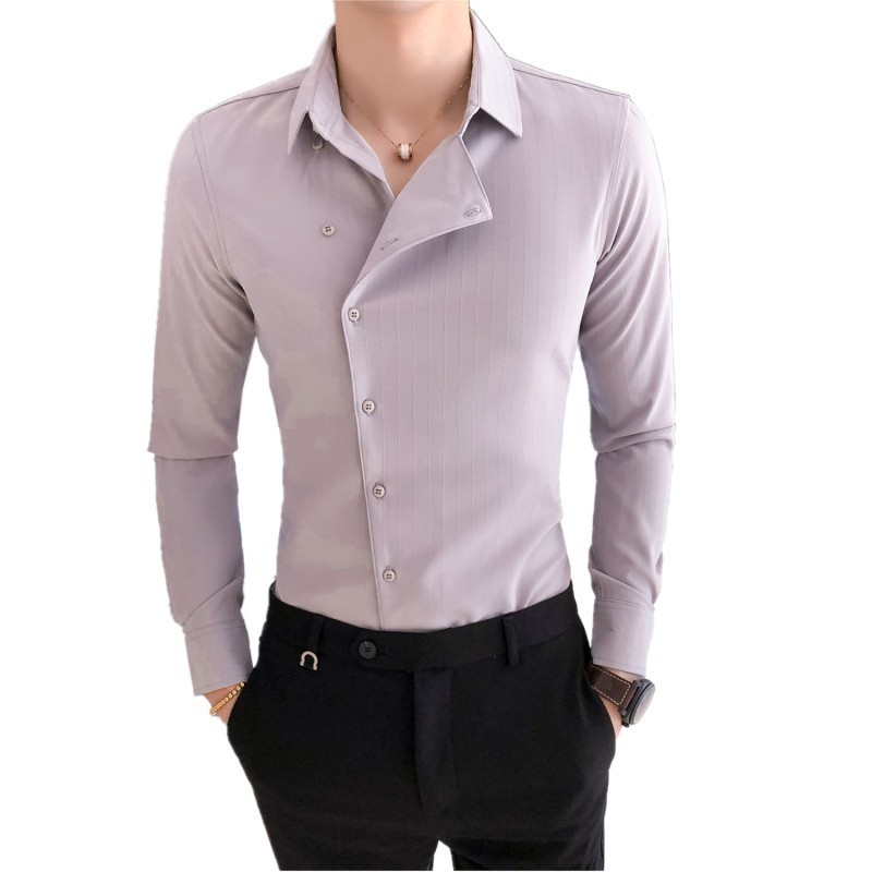High Quality Solid Color Shirt Dress Brand New Slim Fit Men Shirt Solid  Long Sleeve Shirts Men Camisa Masculina Tuxedo Clothes 4