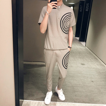 Summer Chinese Style Solid Color Fashion Streetwear Hombre  Set Men TShirt+Pant 2 Pcs Mens Clothing