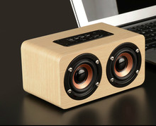 Computer Mobile Phone Wooden Wireless Bluetooth Loudspeaker Box Both Horn Powerful Power Audio