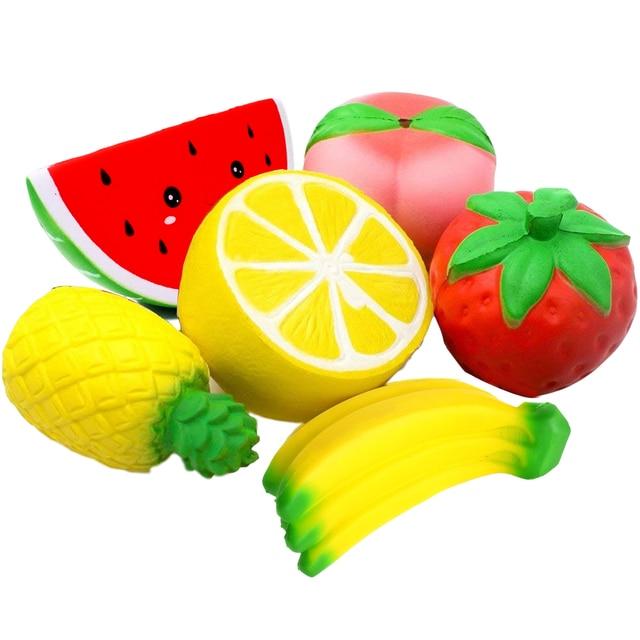 Мягкий фруктовый мягкий пакет персиковый арбуз банан лимон приседает медленно растущие ароматизированные Сквош обучающие игрушки для малышей