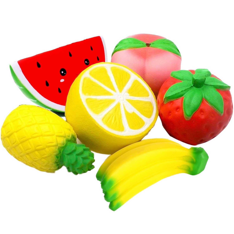حزمة فاكهة الأفوكادو الاسفنجية ، كعكة الموز والبطيخ والبطيخ ، كعكة السكويشات ، لعبة الضغط المعطرة البطيئة ، العاب تعليمية للطفل