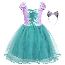 AmzBarley Baby Girls Little Ariel Costume Short Sleeve Dress Up Headband Princess Party Cosplay Outfit Set Lace Ball Gown