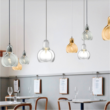 Nordic Modern LED Pendant Lights Clear/gray/amber Glass Pendant Lamp Lampshade Hanging Lamp Cafe Bar Restaurant Light Fixtures недорого