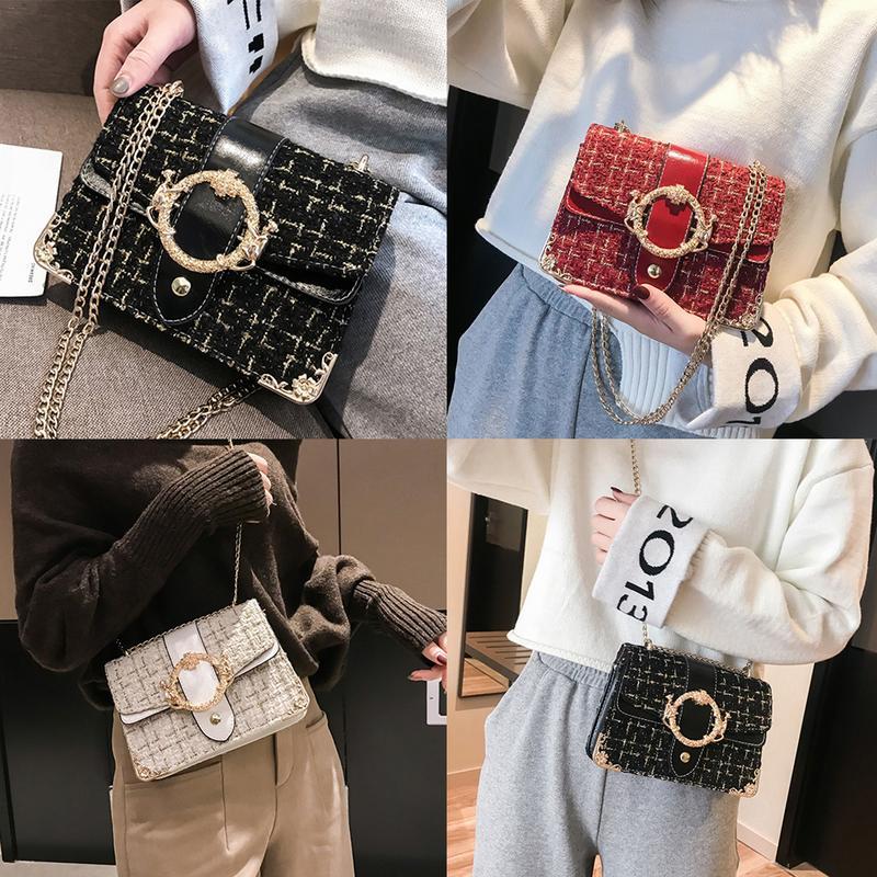 Women Small Square Chains Bag Autumn Winter Woolen Korean Fashion Crossbody Messenger Chain Metal Round Buckle Handbag Girl Bags