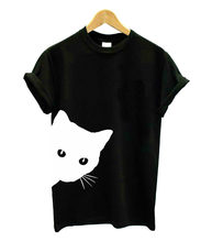 cat looking out side Print Women tshirt Cotton Casual Funny t shirt For Lady Girl Top Tee Hipster Tumblr Drop Ship girl print ladder cut out tee