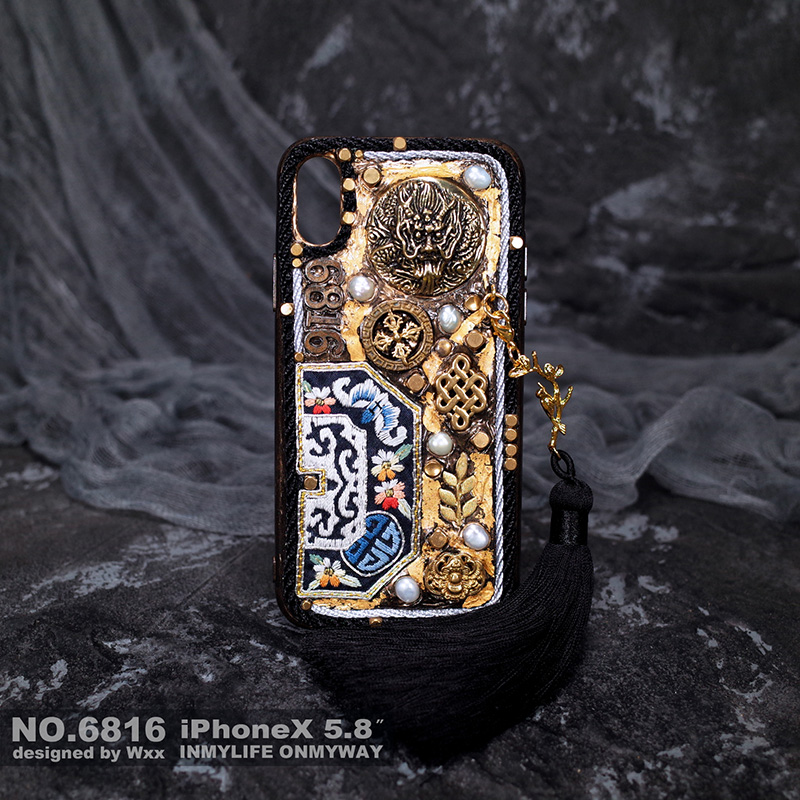 For Iphone X Case Handmade Gold Foil Freshwater Pearl Hardware Brass Personality Limited Edition for Iphone Xs Max Case