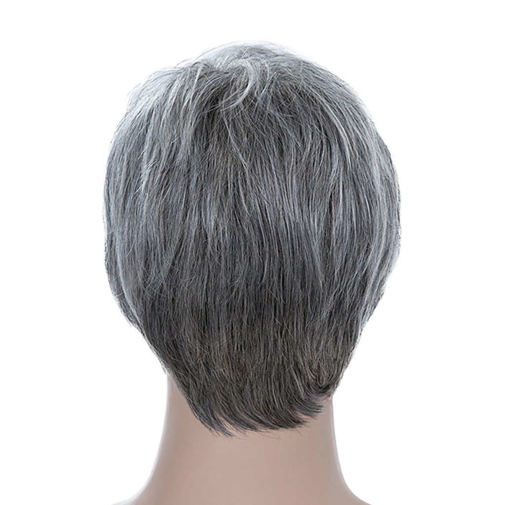 Fashion Short Light Gray Wig With Oblique Bangs - Human Hair Wig - Heat Safe For Men 9' Wig Heat Resistant Hot Sale women human hair wig short black blend white layered oblique fringe heat ok heat resistant female hair natural straight