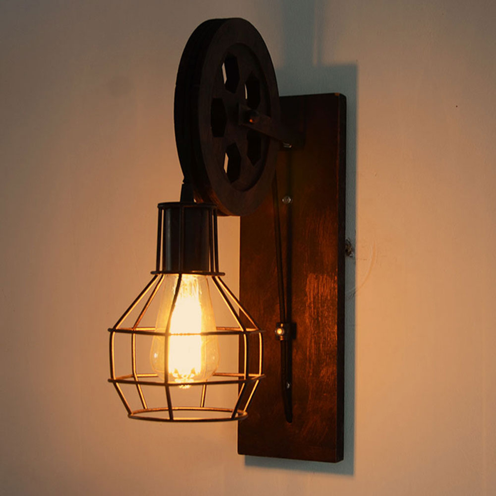 Wall Lamp European Antiqued Vintage Metal Iron Energy-saving Pendant Lifting Pulley Loft Foyer Bed Room Study Room Wall Light