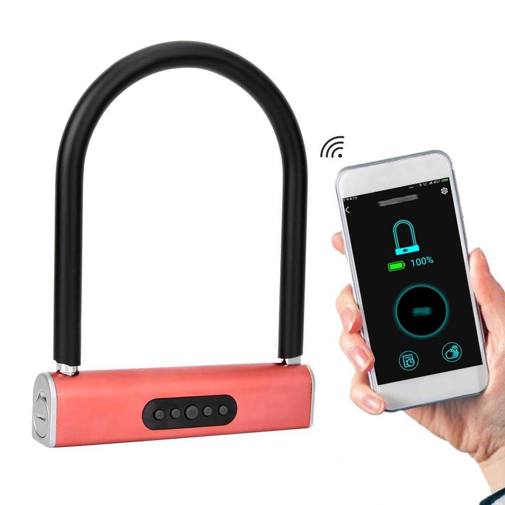 Интеллигентая (ый) изначально установленный пароль для Bluetooth u-образный замок Стекло двери велосипеда мотоцикла Противоугонный замок для велосипеда замок для android для IOS7