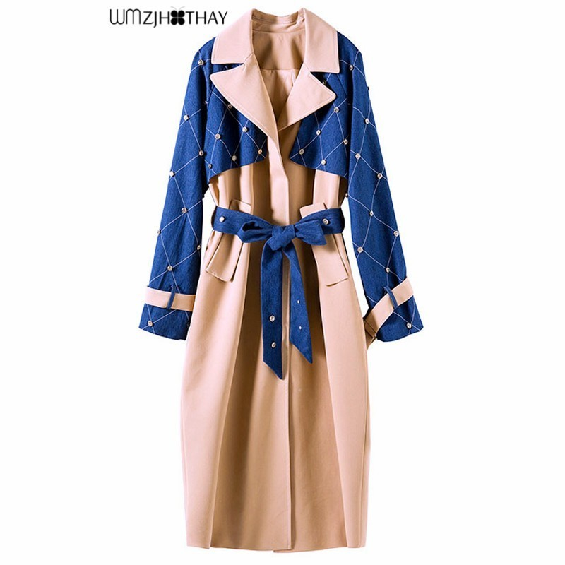 Верхняя одежда 2019 новые Для женщин мода длинный плащ пальто темперамент тонкий лоскутное бисером Халаза Повседневное весна ветровка пальт