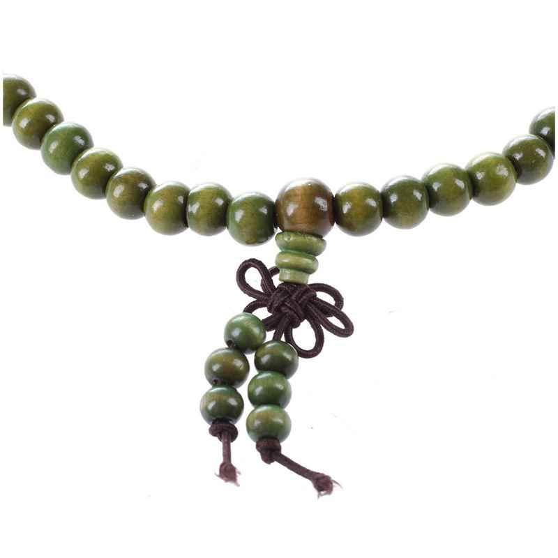 "Olive สีเขียวไม้จันทน์พุทธ Mala สร้อยคอลูกประคำ 29"""