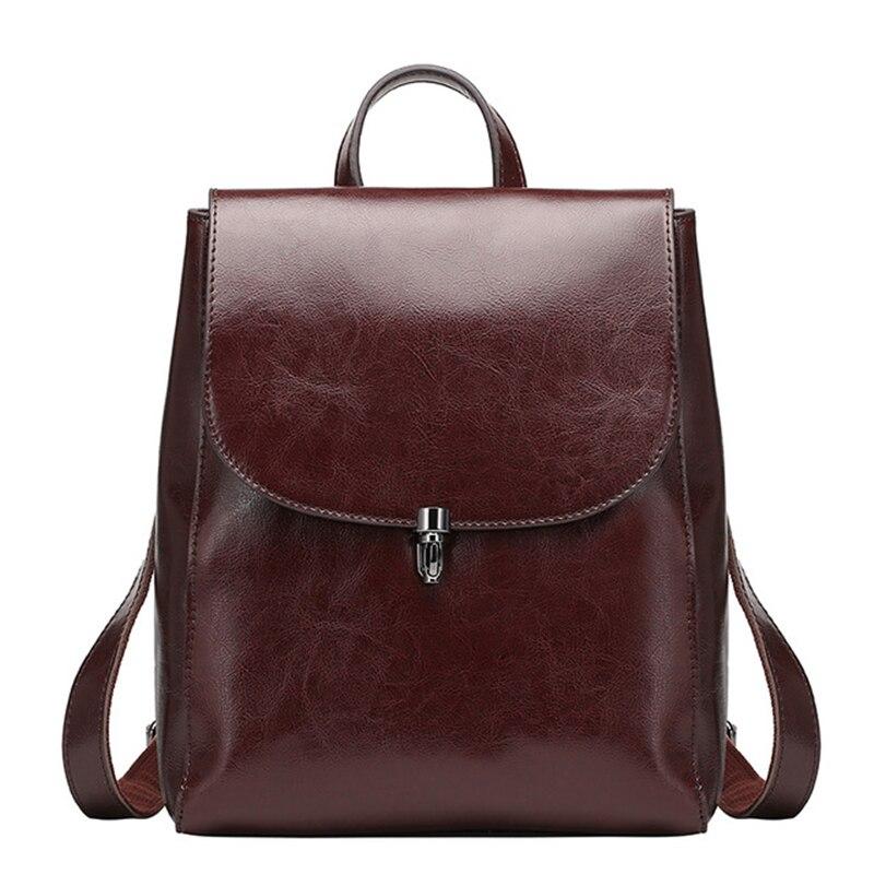 Women 100 Genuine Leather Backpacks Ladies Casual Vintage Cowhide Travel Black Brown Backpack Real Cowhide Bagpack