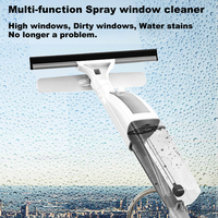 Multi function Spray window cleaner can mosit windows scrub glass with silicone scraper head wipe water stains ergonomic grip