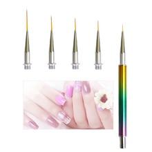 5pcs/ Set Nail Art Line Painting Pen Exquisite Vogue Sequin Stick Stripe Lines Pencil Detail Image Builder Drawing Brushes