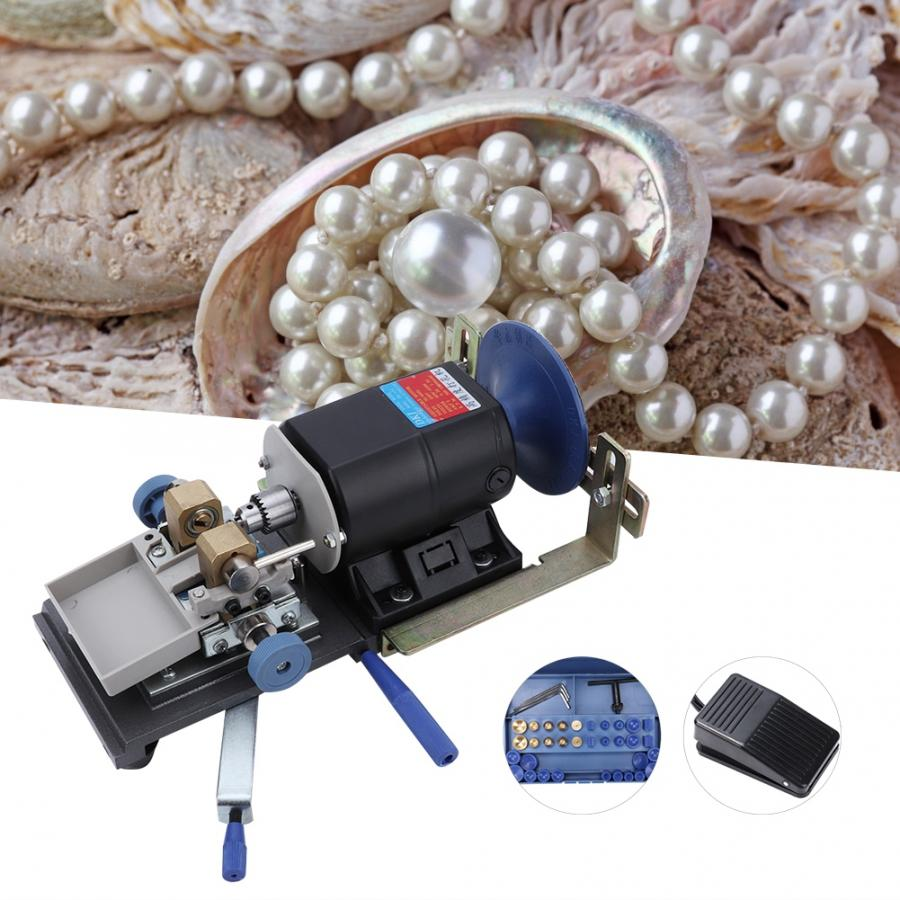 Professional 450W Drilling Holing Machine DIY Wood Drill Beads Pearl Punch Driller Set Jewelry Making Tool for Jeweler 110V 220V