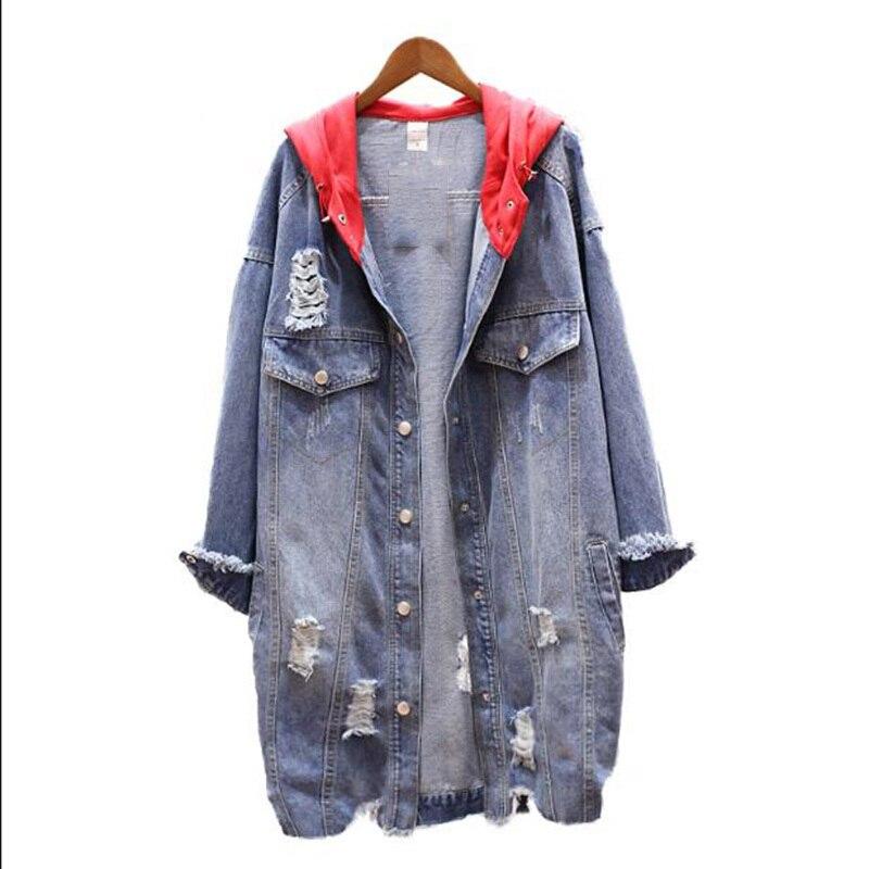 Chaqueta Mujer Blue Casual Básico Capucha Cazadora Vintage Mujeres Para  Streetwear Harajuku Con Otoño Denim Agujeros Suelta Abrigo wX4axRdd c63f848fbb1b