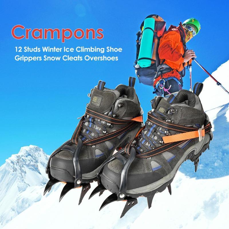 12 Crampons universels hiver glace antidérapant neige chaussures Crampons Crampons hiver escalade outil de sécurité anti-dérapant chaussures couverture