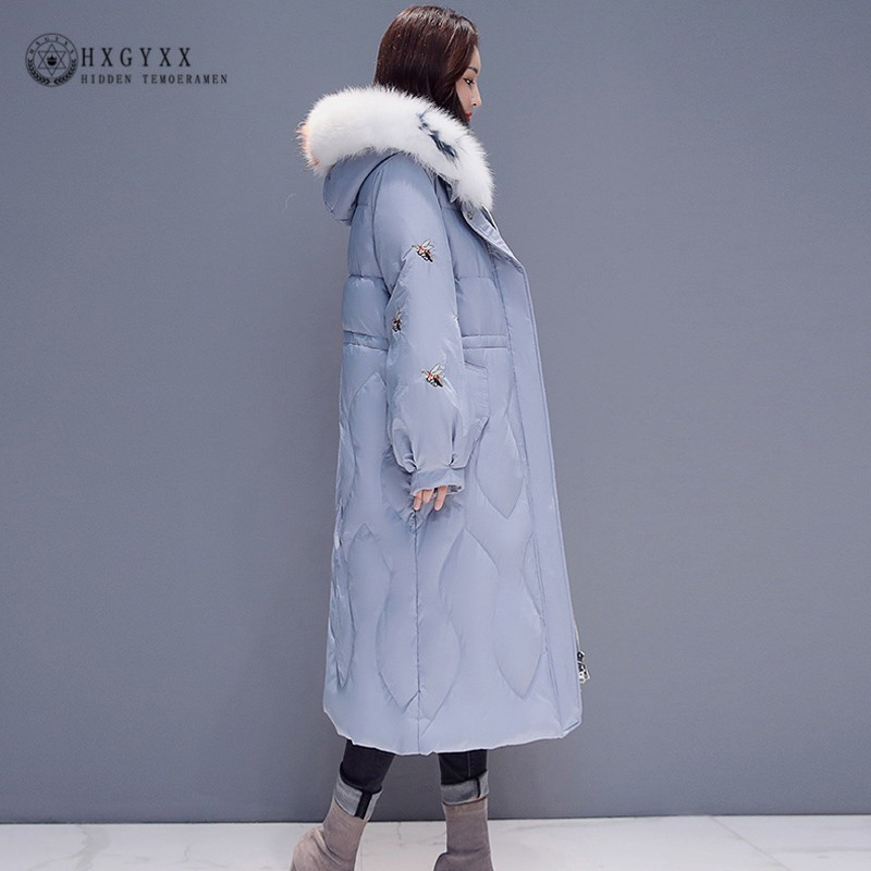 Real Fur Collar Winter Jacket Women Long Coat Cotton Padded   Parka   Female Hooded Embroidery Thicken Warm Overcoat 2019 Okd666