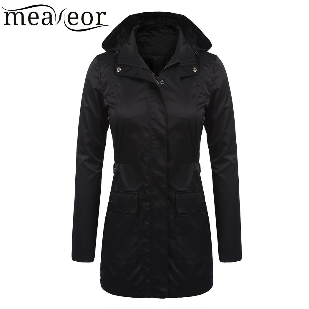 Hooded Adjustable Women Long Fit Military Meaneor Black Slim Casual Belt Sleeve Jacket Thin 54cRcng6
