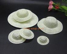 4-24 pçs/lote Bege Chapéu Tarja Chapéu De Pano de Mini Boneca de Papel Ornamento Jóias Diy Acessórios Artesanais de Decoração Pequeno Cap 2.5-10cm
