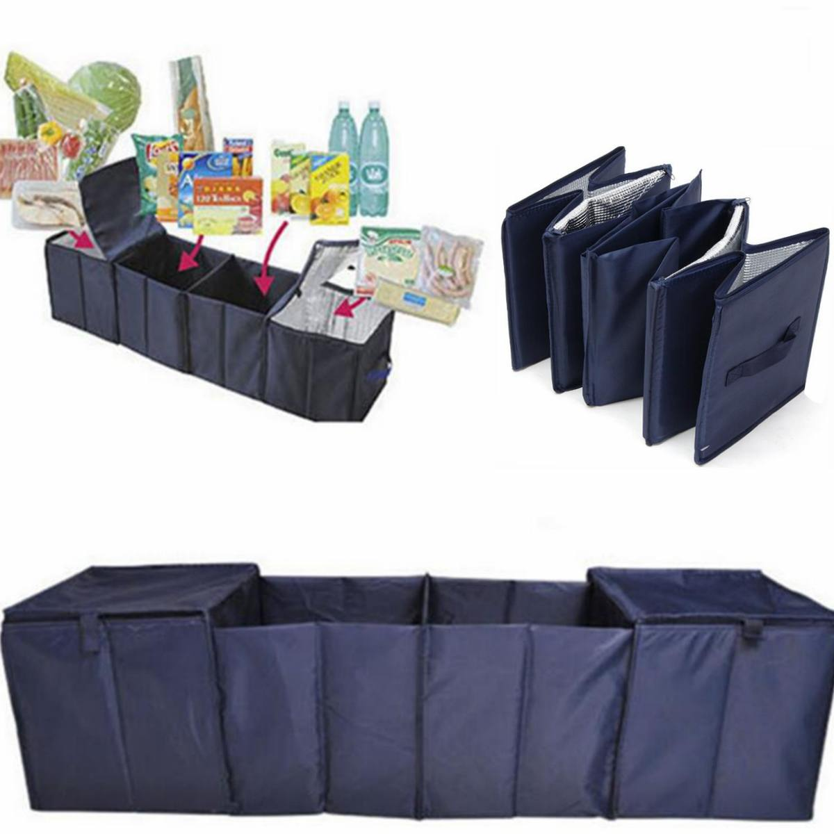 Foldable Car Trunk Boot Storage 4 Grid Collapsible Organizer Oxford Cloth+Aluminum Foil+PVC Dark Blue With 2 Cooler Bags
