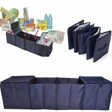 Складной багажник автомобиля загрузки хранения 4 сетки складной Органайзер Ткань Оксфорд + Алюминий фольга ПВХ темно синий с 2 охладитель сумки