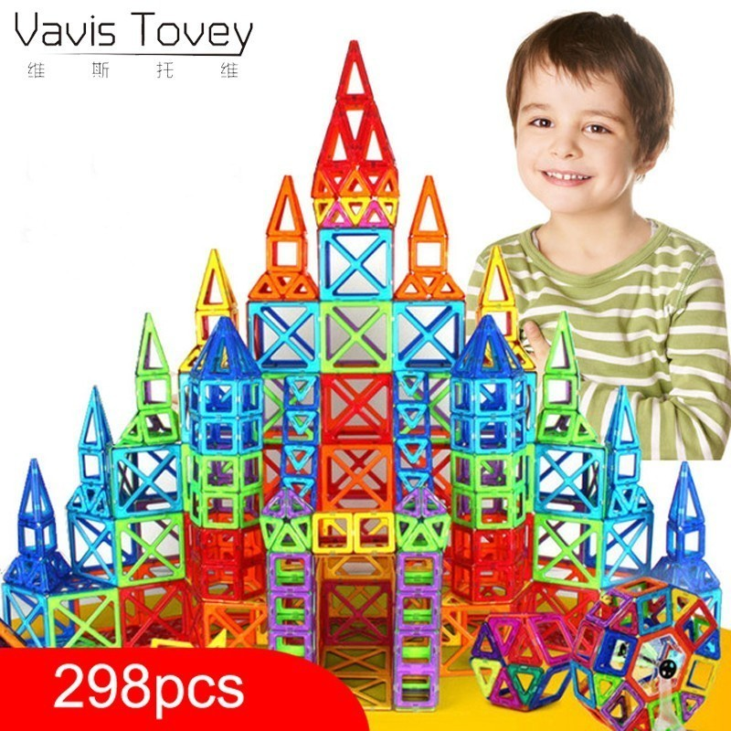 Vavis Tovey 100-298pcs Designer Construction Set Model & Building Toy Plastic Magnetic Blocks Educational Toys Kids Gift