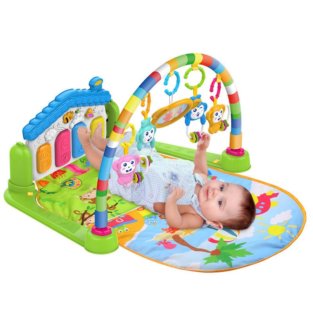 2 In 1 Baby Kick Und Spielen Klavier Gym Matte Rack Spielen Kriechende Matte Neugeborenen Musik Früh Pädagogisches Spielzeug Für 0 ~ 36 Monate Alte Babys