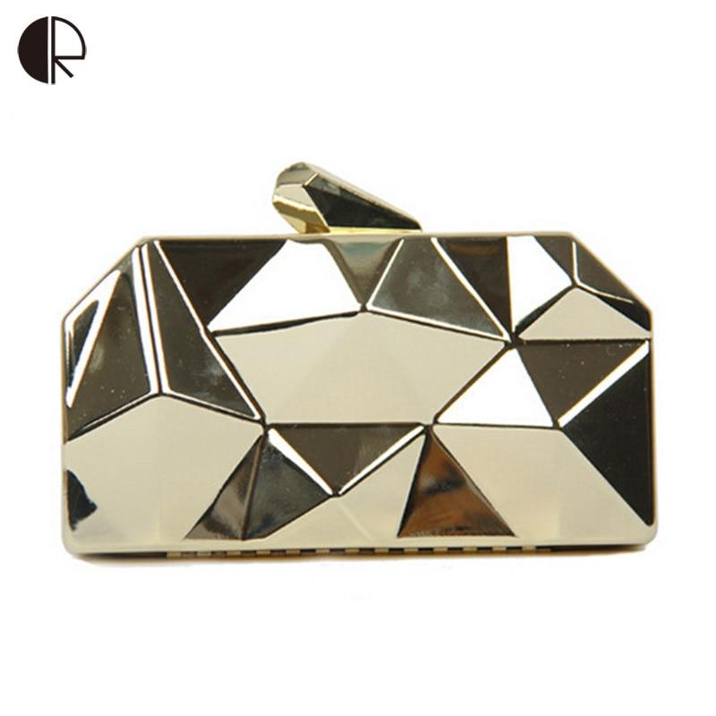새로운 패션 여성 핸드백 금속 마차 Shinning 금속 어깨 가방 숙녀 골드 실버 주 클러치 이브닝 백 BH483