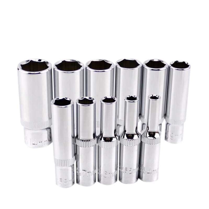 Nova 11 pcs 1/4 polegada Unidade Profunda 6 Ponto Longo Soquete Hex Soquete Set CRV Ferramenta de Mão Ferramenta de Reparo