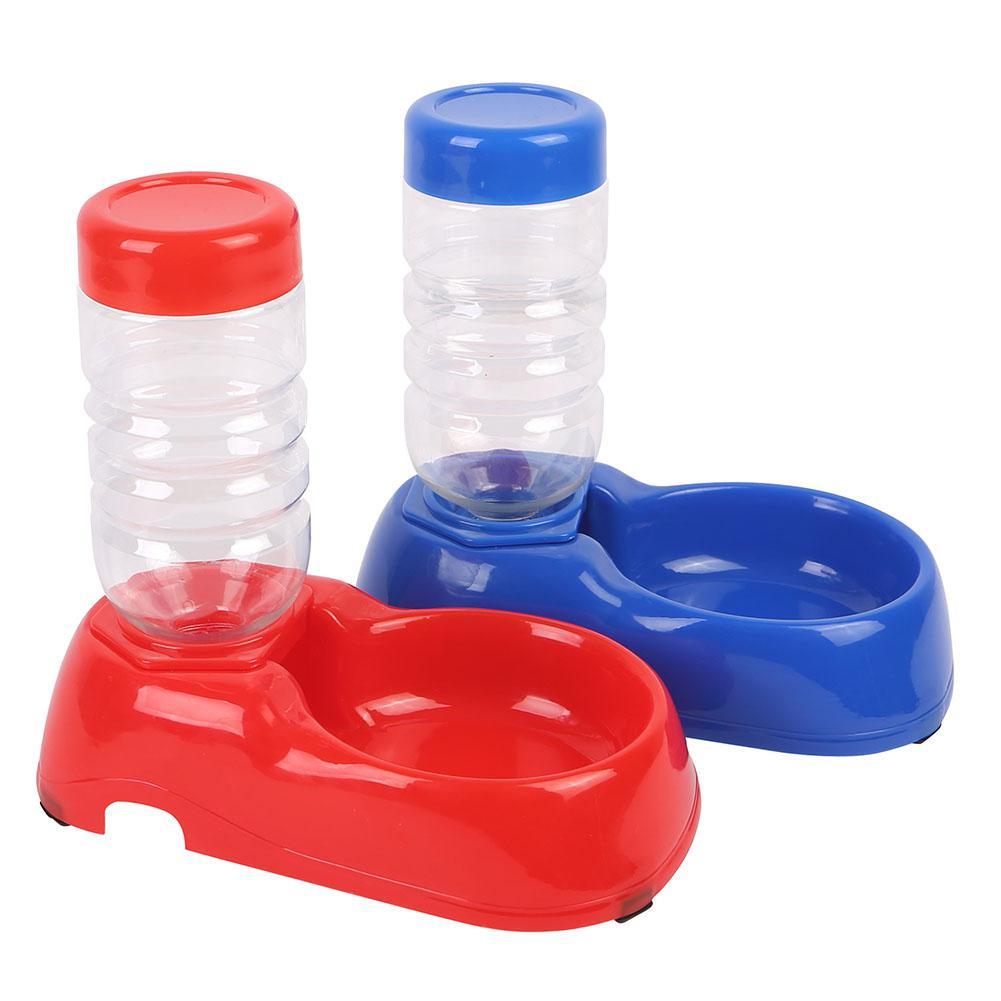 Pet Dog Cat Automatic Water Dispenser Food Dish Bowl Feeder Drinking Bowl Bottle